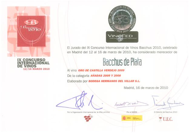 IX Concurso Internacional de Vinos Bacchus 2010