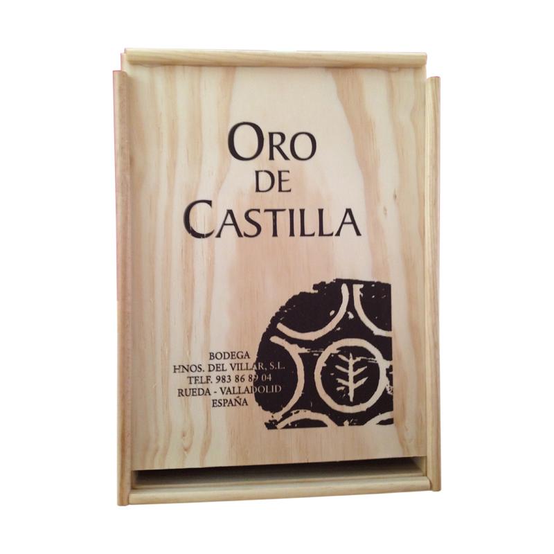 Caja madera 3botellas Oro de Castilla