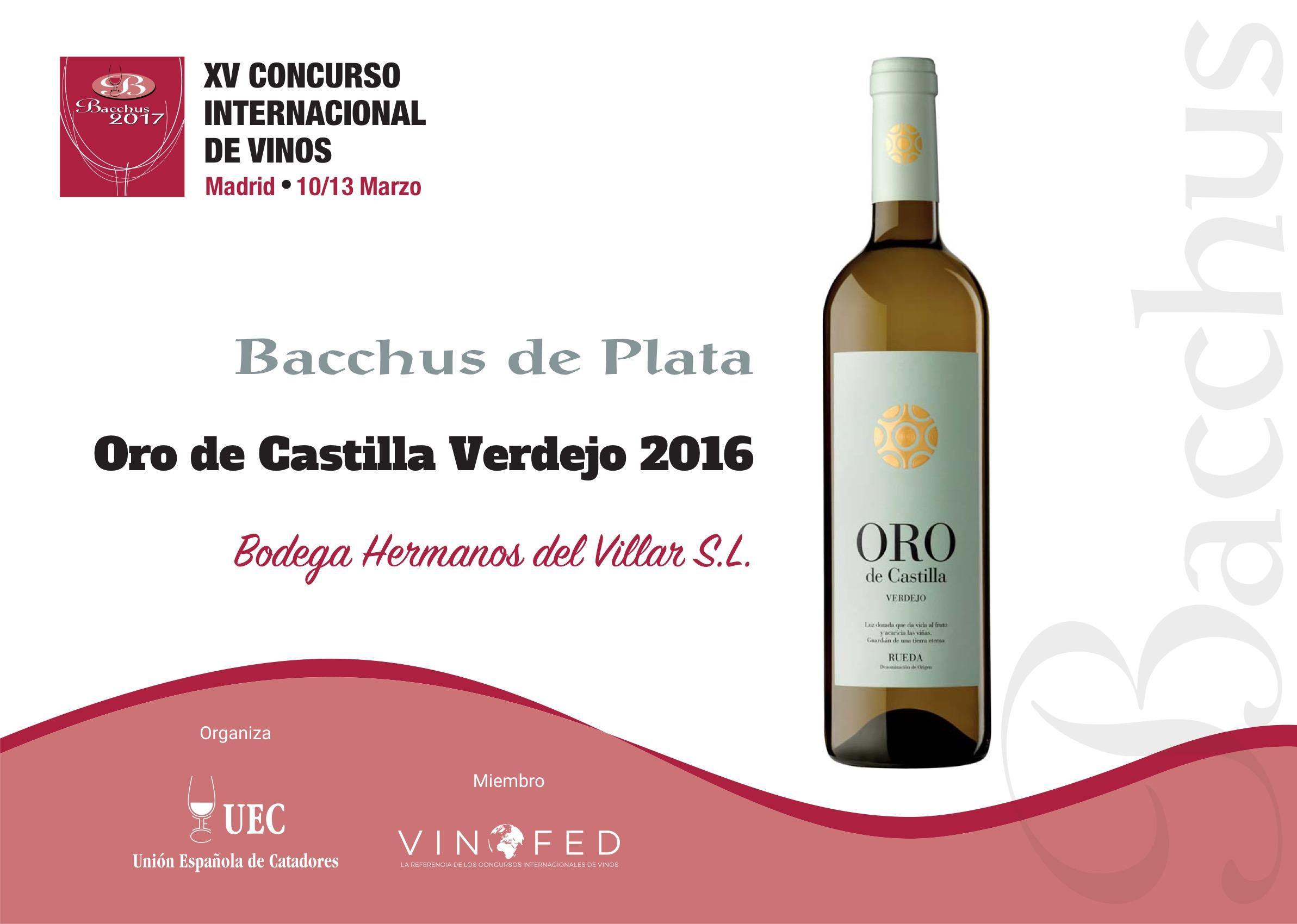 Un verdejo y un tinto de Oro de Castilla, Plata en los Bacchus 2017