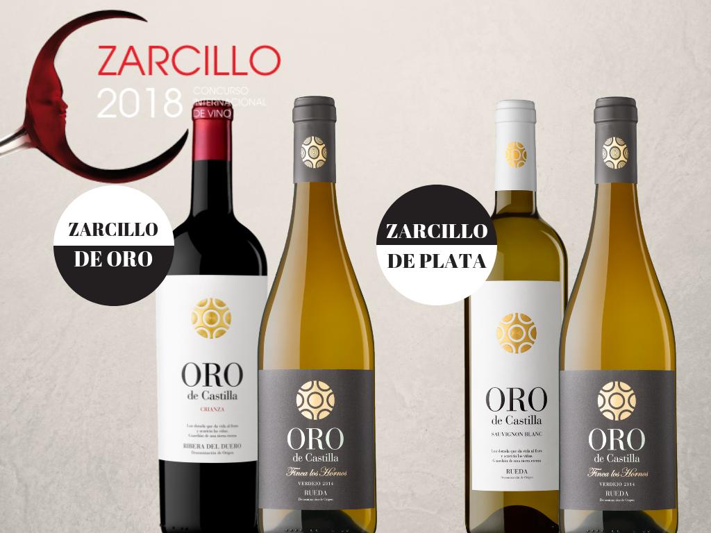 Dos Zarcillo de Oro y dos de Plata para vinos Oro de Castilla
