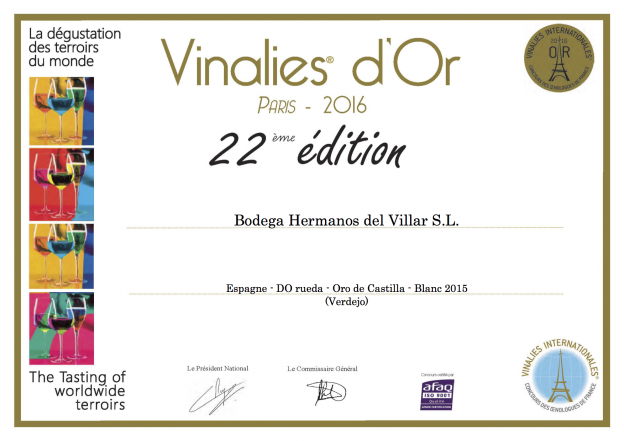Diplome Vinalies® Internationales 2016 OCV