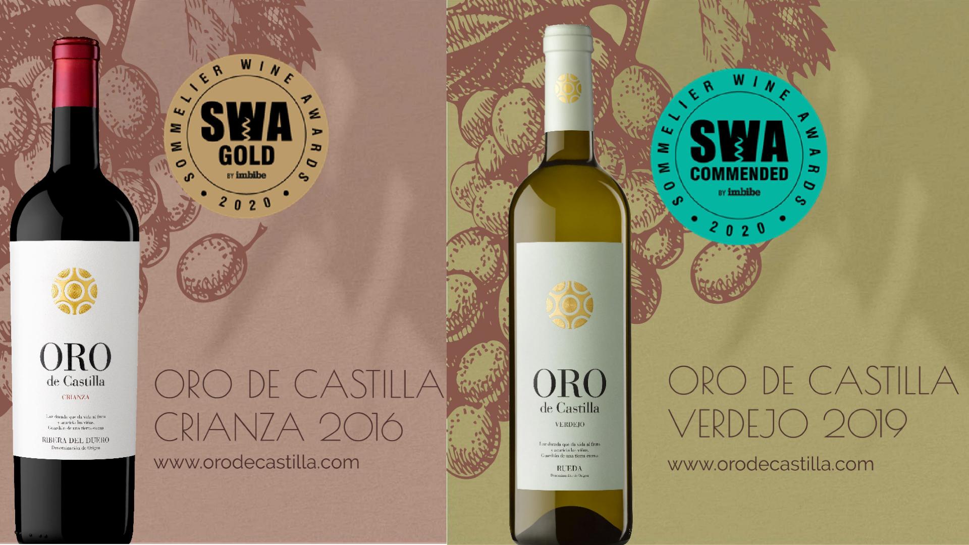 Oro de Castilla Verdejo y Crianza, premiados en los Sommelier Wine Awards