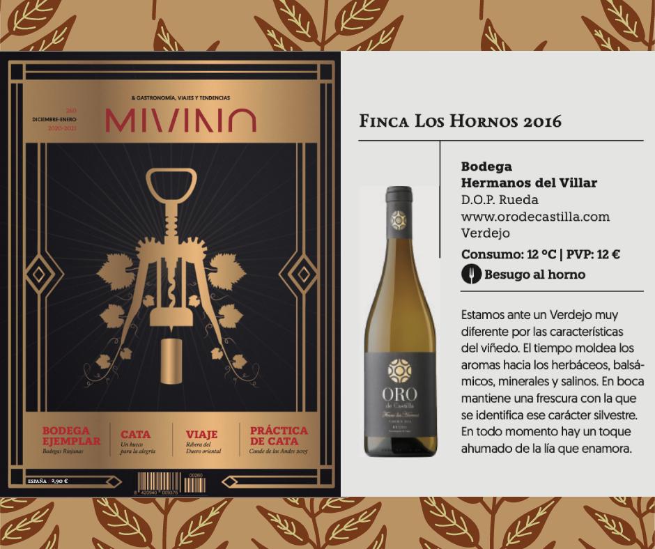 Oro de Castilla Finca los Hornos, vino recomendado para las navidades en la revista MiVino