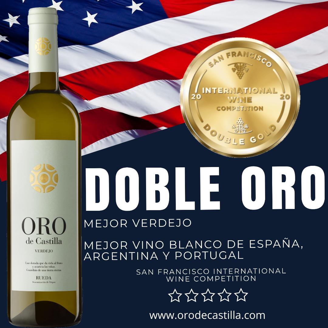 Oro de Castilla Verdejo, doble oro y mejor vino blanco de España, Argentina y Portugal en un concurso de USA