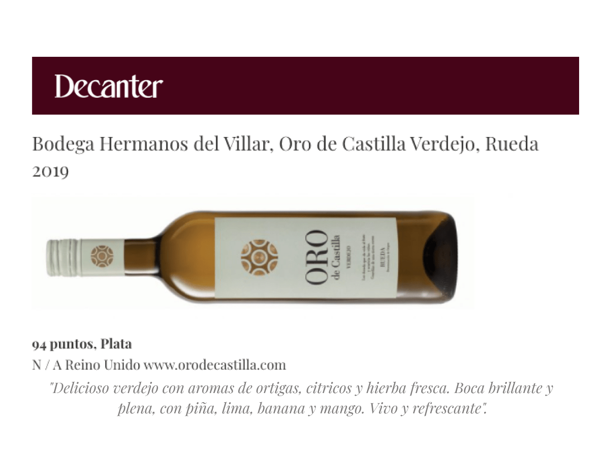 Decanter sitúa Oro de Castilla Verdejo entre los mejores vinos blancos de España