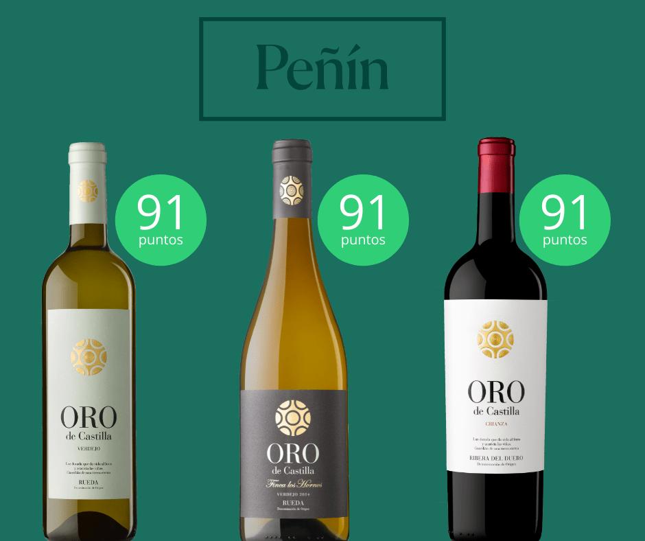 """La Guía Peñín 2021 incluye un año más entre sus vinos """"excelentes"""" 3 referencias Oro de Castilla"""